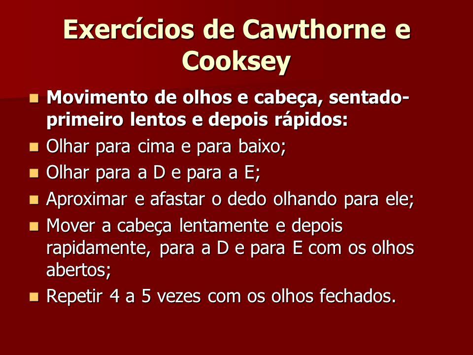 Exercícios de Cawthorne e Cooksey Movimento de olhos e cabeça, sentado- primeiro lentos e depois rápidos: Movimento de olhos e cabeça, sentado- primei