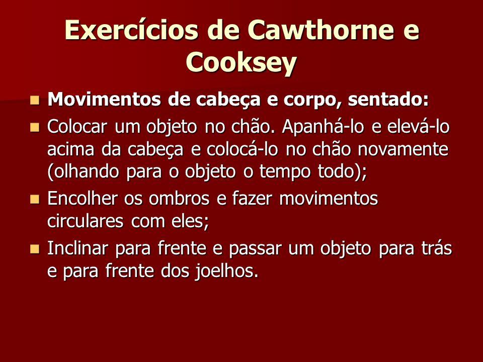 Exercícios de Cawthorne e Cooksey Movimentos de cabeça e corpo, sentado: Movimentos de cabeça e corpo, sentado: Colocar um objeto no chão. Apanhá-lo e