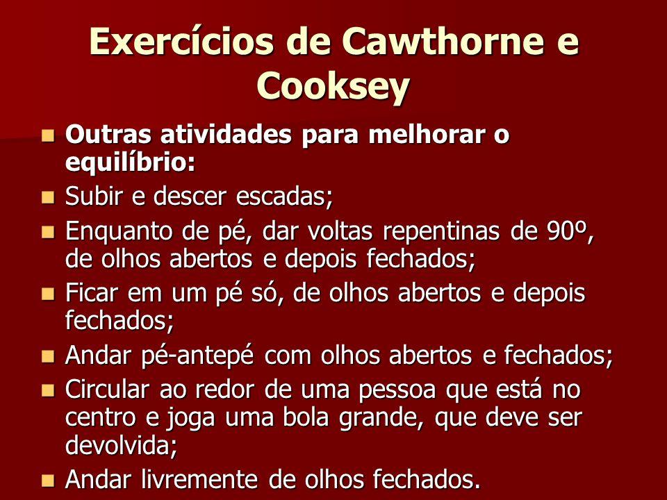 Exercícios de Cawthorne e Cooksey Outras atividades para melhorar o equilíbrio: Outras atividades para melhorar o equilíbrio: Subir e descer escadas;