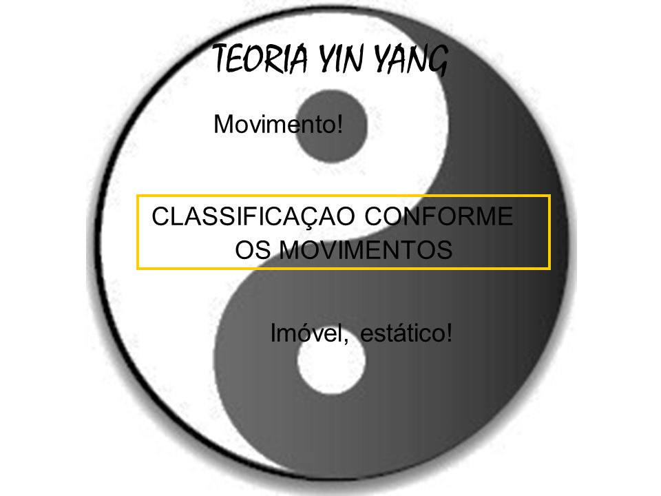 TEORIA YIN YANG Movimento! CLASSIFICAÇAO CONFORME OS MOVIMENTOS Imóvel, estático!