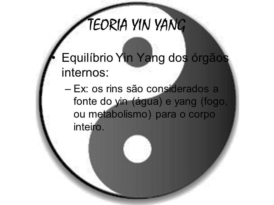TEORIA YIN YANG Equilíbrio Yin Yang dos órgãos internos: –Ex: os rins são considerados a fonte do yin (água) e yang (fogo, ou metabolismo) para o corp