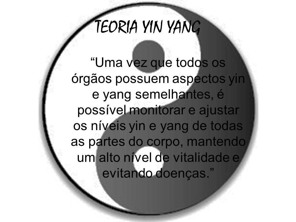 TEORIA YIN YANG Uma vez que todos os órgãos possuem aspectos yin e yang semelhantes, é possível monitorar e ajustar os níveis yin e yang de todas as p