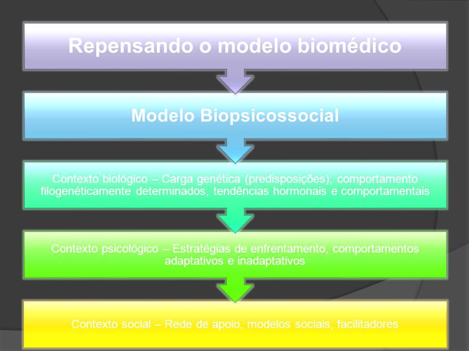Contexto social – Rede de apoio, modelos sociais, facilitadores Contexto psicológico – Estratégias de enfrentamento, comportamentos adaptativos e inad