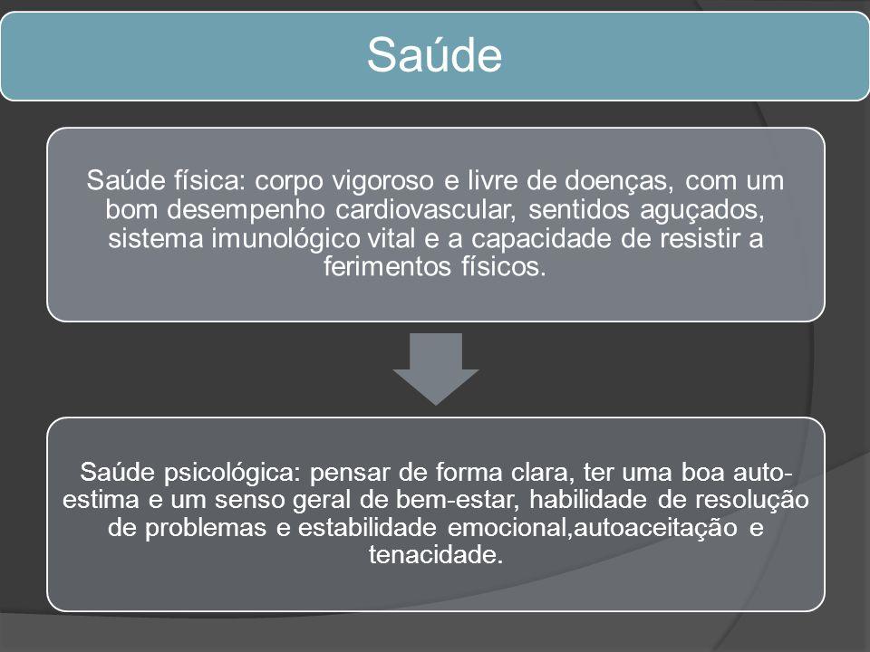Saúde Saúde física: corpo vigoroso e livre de doenças, com um bom desempenho cardiovascular, sentidos aguçados, sistema imunológico vital e a capacida