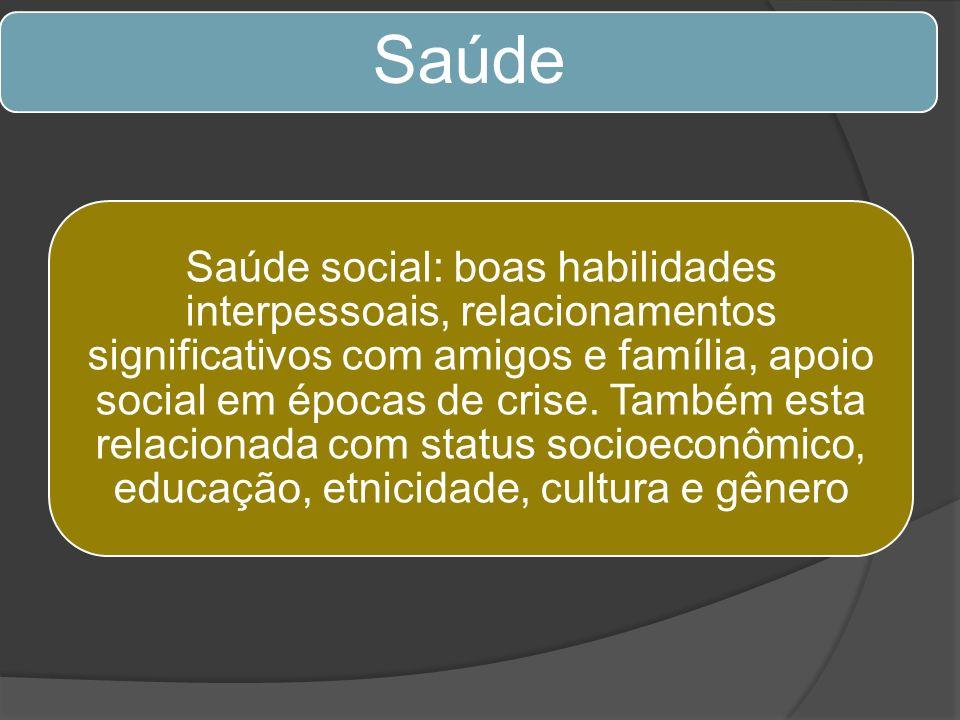 Saúde Saúde social: boas habilidades interpessoais, relacionamentos significativos com amigos e família, apoio social em épocas de crise. Também esta