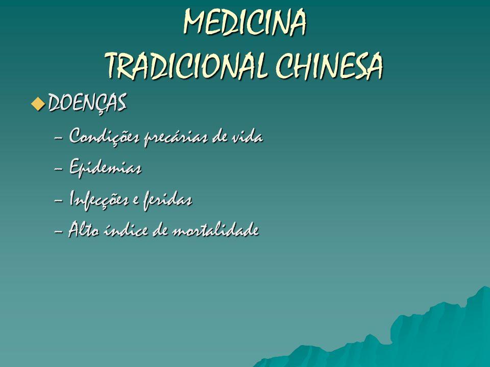MEDICINA TRADICIONAL CHINESA DOENÇAS DOENÇAS –Condições precárias de vida –Epidemias –Infecções e feridas –Alto índice de mortalidade