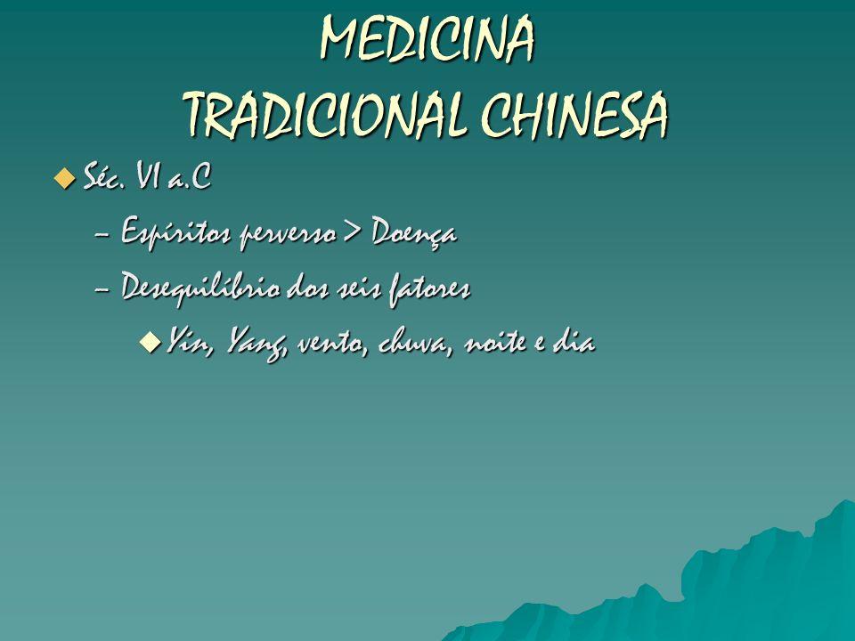 MEDICINA TRADICIONAL CHINESA Séc. VI a.C Séc. VI a.C –Espíritos perverso > Doença –Desequilíbrio dos seis fatores Yin, Yang, vento, chuva, noite e dia