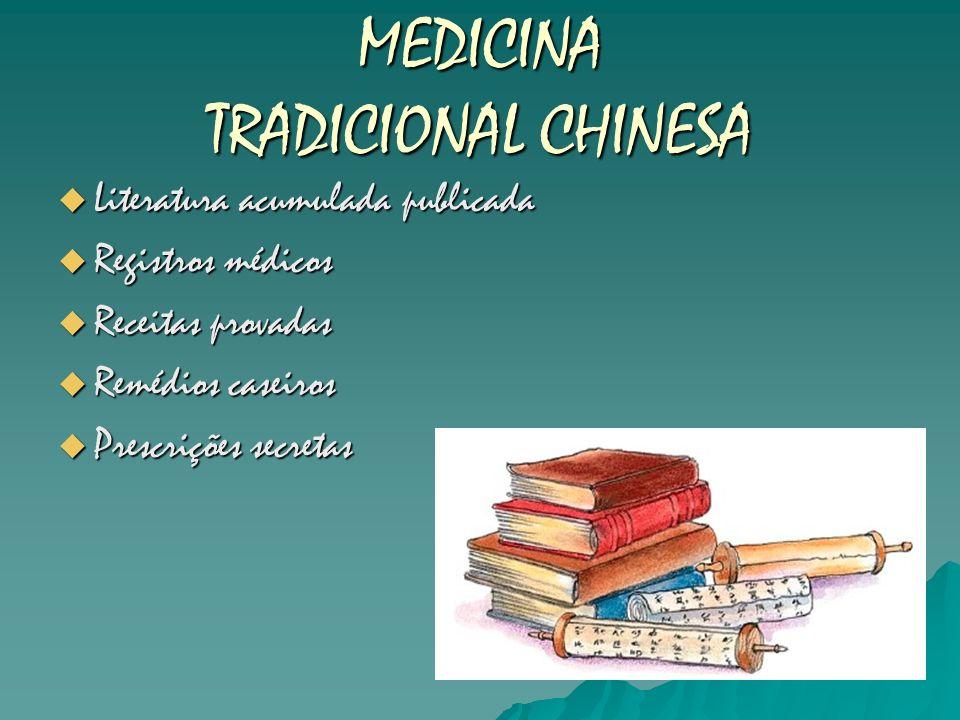 MEDICINA TRADICIONAL CHINESA Literatura acumulada publicada Literatura acumulada publicada Registros médicos Registros médicos Receitas provadas Recei