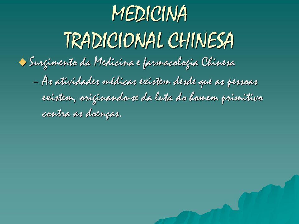 MEDICINA TRADICIONAL CHINESA Surgimento da Medicina e farmacologia Chinesa Surgimento da Medicina e farmacologia Chinesa –As atividades médicas existe
