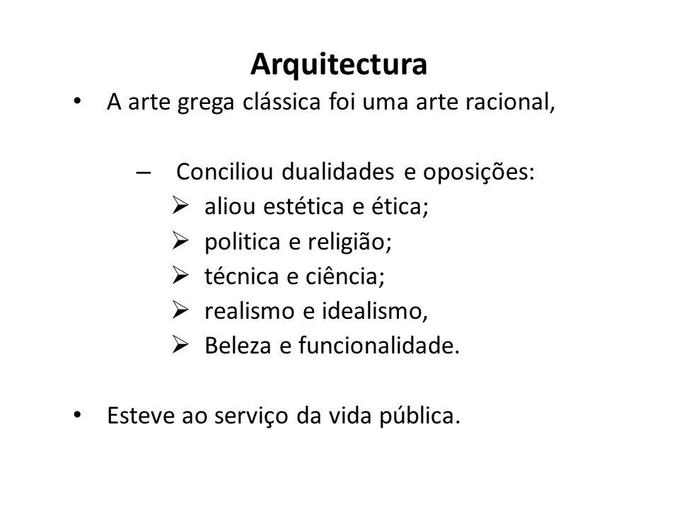 Arquitectura A arte grega clássica foi uma arte racional, – Conciliou dualidades e oposições: aliou estética e ética; politica e religião; técnica e c