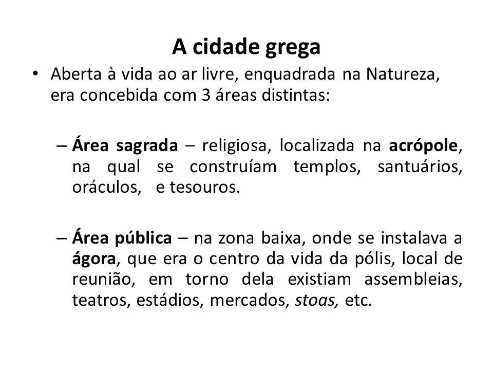 A cidade grega Aberta à vida ao ar livre, enquadrada na Natureza, era concebida com 3 áreas distintas: – Área sagrada – religiosa, localizada na acróp