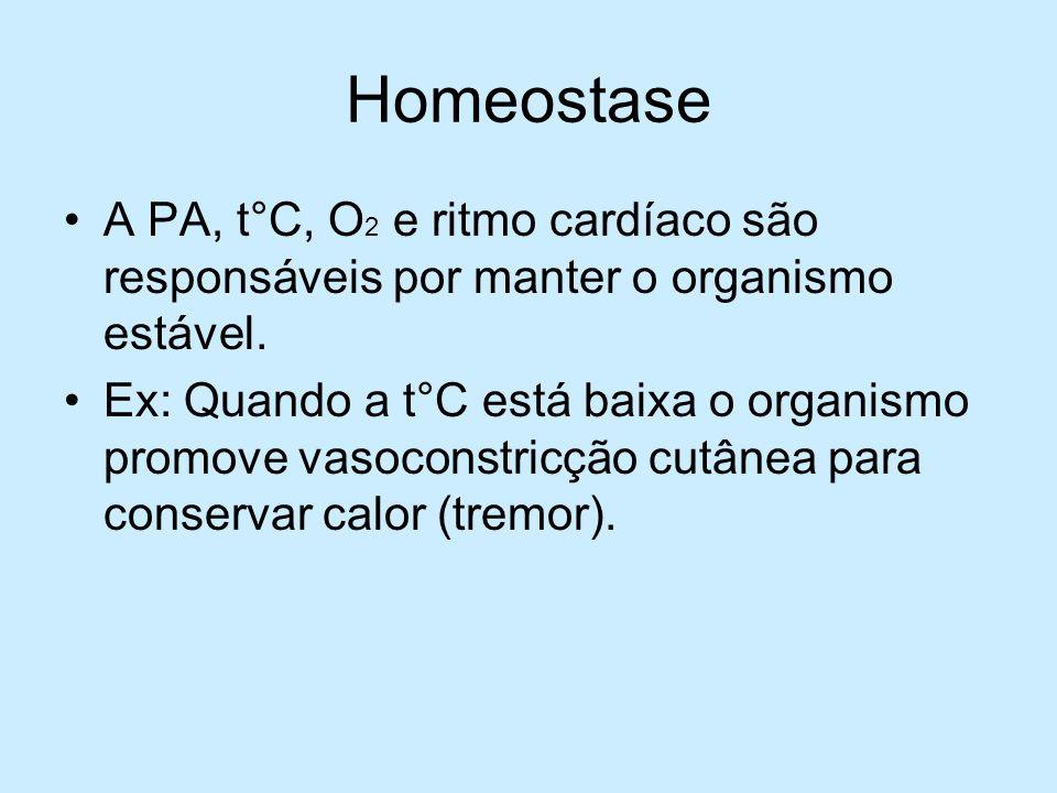 Homeostase A PA, t°C, O 2 e ritmo cardíaco são responsáveis por manter o organismo estável. Ex: Quando a t°C está baixa o organismo promove vasoconstr