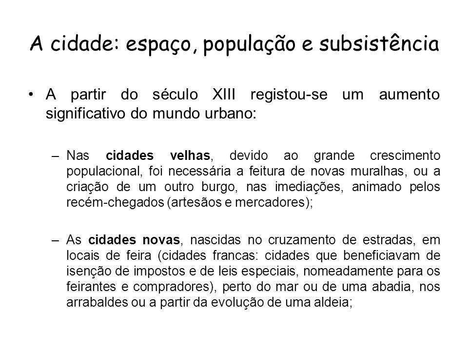 A cidade: espaço, população e subsistência A partir do século XIII registou-se um aumento significativo do mundo urbano: –Nas cidades velhas, devido a