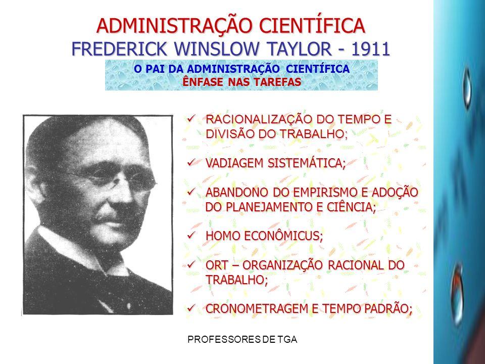 PROFESSORES DE TGA ADMINISTRAÇÃO CIENTÍFICA FREDERICK WINSLOW TAYLOR - 1911 O PAI DA ADMINISTRAÇÃO CIENTÍFICA ÊNFASE NAS TAREFAS RACIONALIZAÇÃO DO TEM