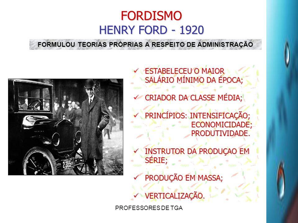 PROFESSORES DE TGA FORDISMO HENRY FORD - 1920 ESTABELECEU O MAIOR SALÁRIO MÍNIMO DA ÉPOCA; ESTABELECEU O MAIOR SALÁRIO MÍNIMO DA ÉPOCA; CRIADOR DA CLA