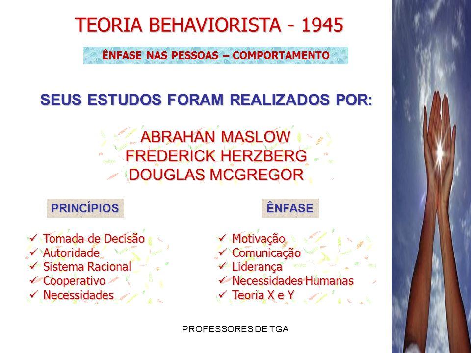 PROFESSORES DE TGA ABRAHAN MASLOW Desenvolveu a Teoria Motivacional baseada em necessidades humanas Auto-Realização Estima Sociais Segurança Fisiológicas Necessidade de Sobrevivência (básicas) Primárias Necessidades de Motivação (crescimento) Secundárias