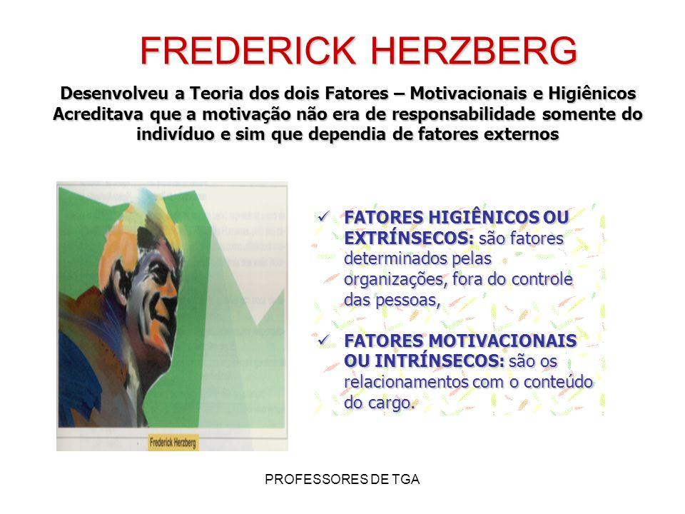 PROFESSORES DE TGA FREDERICK HERZBERG Desenvolveu a Teoria dos dois Fatores – Motivacionais e Higiênicos Acreditava que a motivação não era de respons