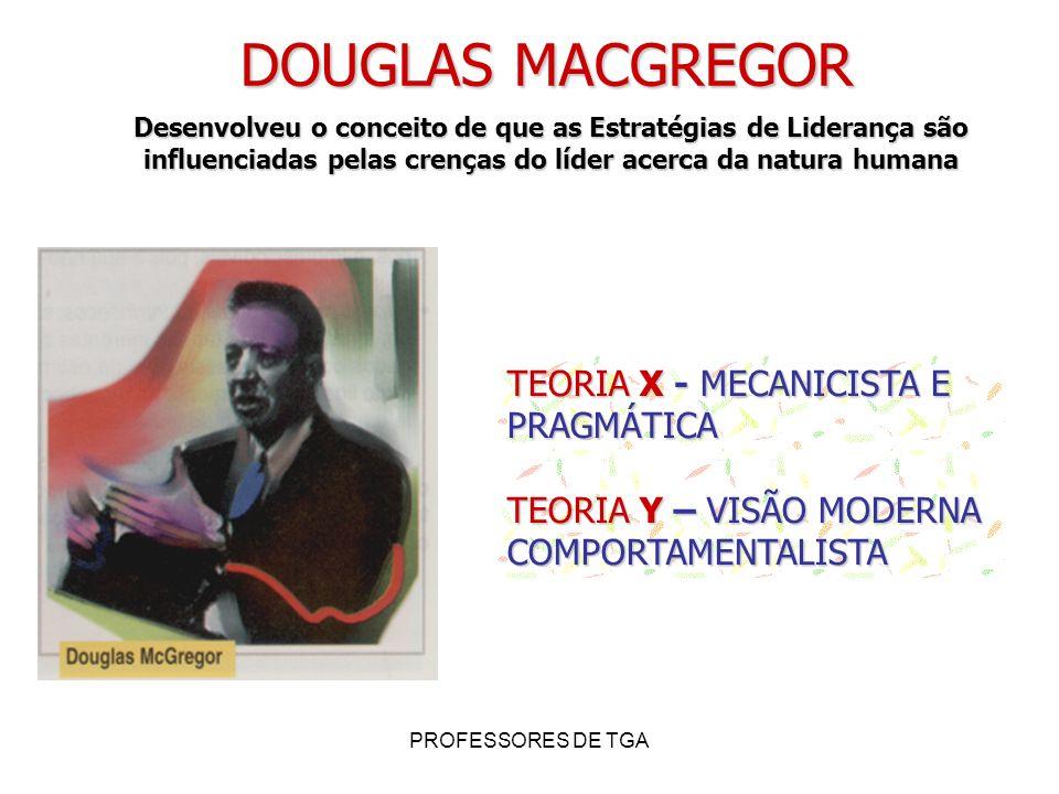 PROFESSORES DE TGA DOUGLAS MACGREGOR Desenvolveu o conceito de que as Estratégias de Liderança são influenciadas pelas crenças do líder acerca da natu