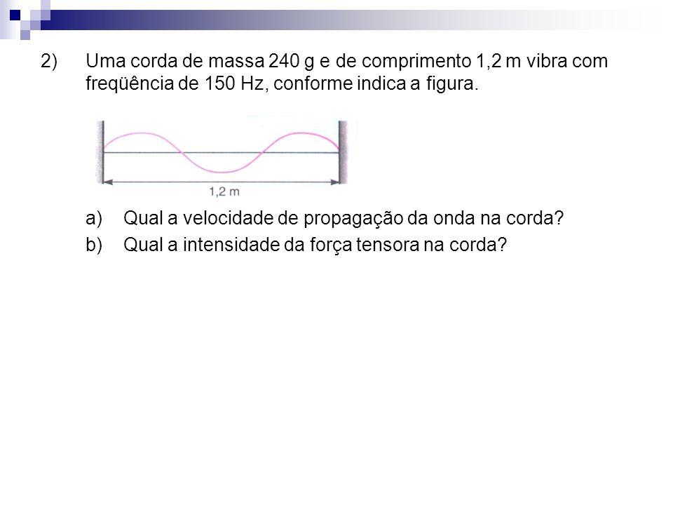 2)Uma corda de massa 240 g e de comprimento 1,2 m vibra com freqüência de 150 Hz, conforme indica a figura. a) Qual a velocidade de propagação da onda