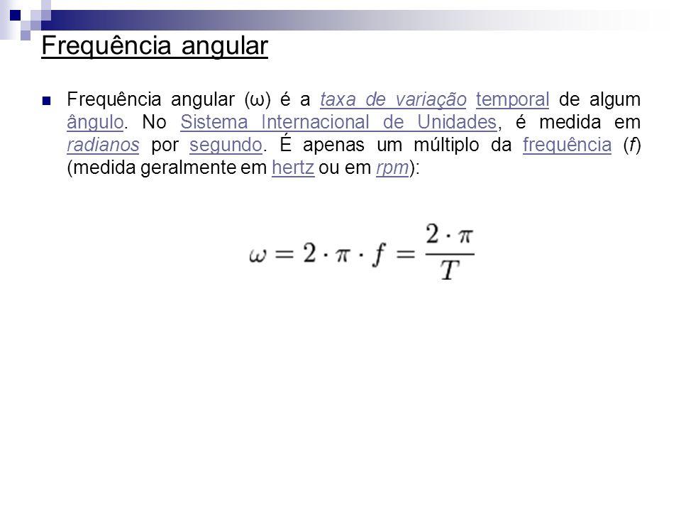 Frequência angular Frequência angular (ω) é a taxa de variação temporal de algum ângulo. No Sistema Internacional de Unidades, é medida em radianos po