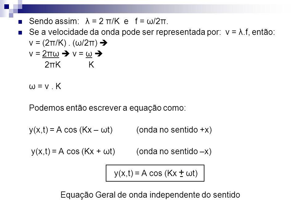 Sendo assim: λ = 2 π/K e f = ω/2π. Se a velocidade da onda pode ser representada por: v = λ.f, então: v = (2π/K). (ω/2π) v = 2πω v = ω 2πK K ω = v. K