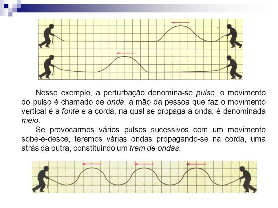 Nesse exemplo, a perturbação denomina-se pulso, o movimento do pulso é chamado de onda, a mão da pessoa que faz o movimento vertical é a fonte e a cor