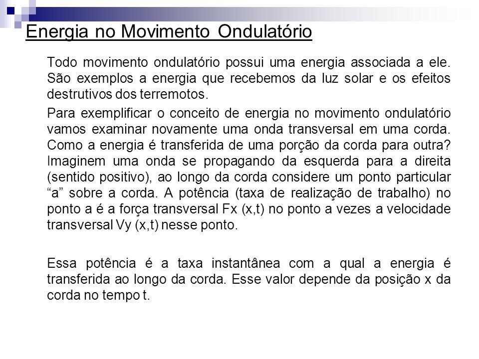 Energia no Movimento Ondulatório Todo movimento ondulatório possui uma energia associada a ele. São exemplos a energia que recebemos da luz solar e os