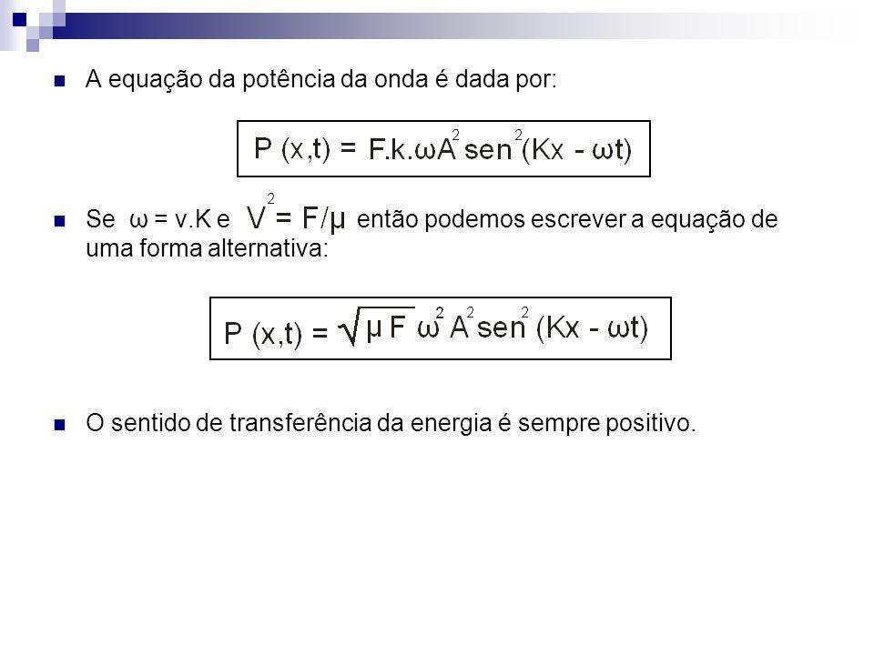 A equação da potência da onda é dada por: Se ω = v.K e então podemos escrever a equação de uma forma alternativa: O sentido de transferência da energi