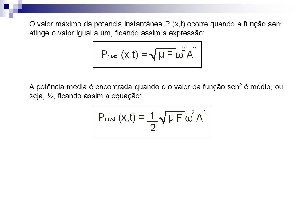 O valor máximo da potencia instantânea P (x,t) ocorre quando a função sen 2 atinge o valor igual a um, ficando assim a expressão: A potência média é e