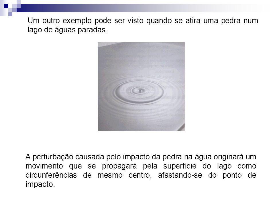Um outro exemplo pode ser visto quando se atira uma pedra num lago de águas paradas. A perturbação causada pelo impacto da pedra na água originará um