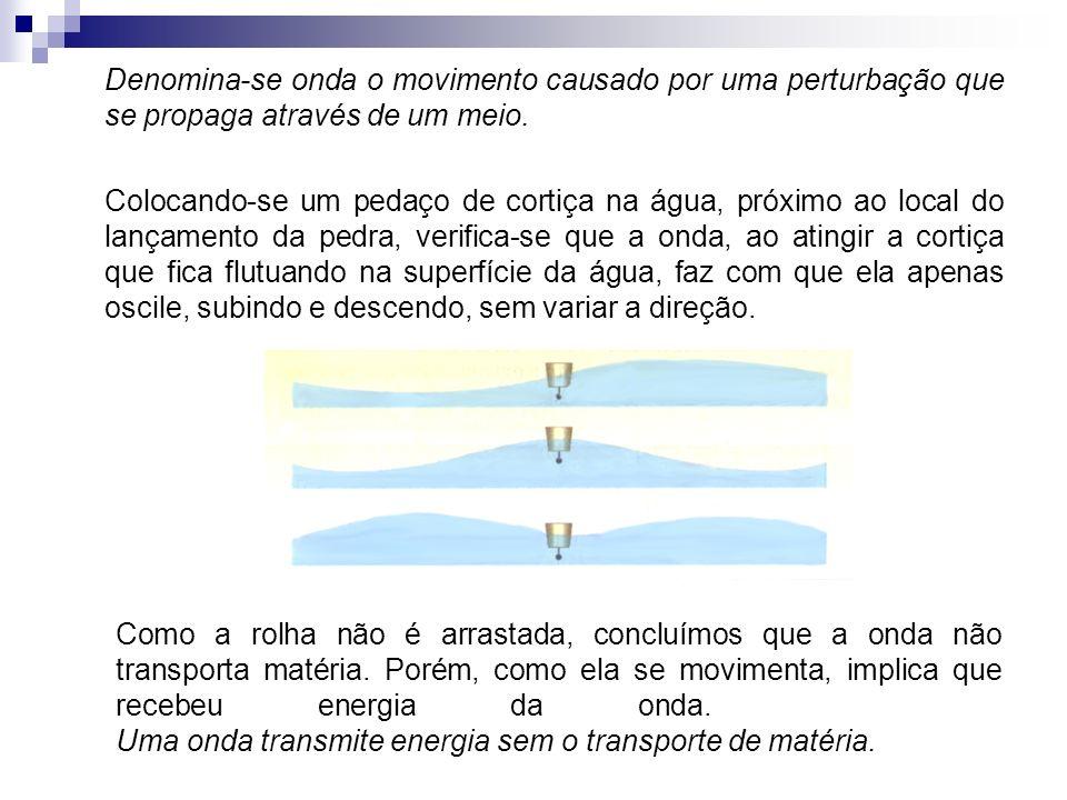 Denomina-se onda o movimento causado por uma perturbação que se propaga através de um meio. Colocando-se um pedaço de cortiça na água, próximo ao loca