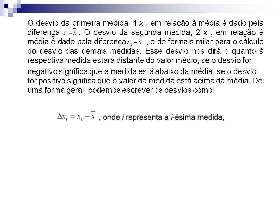 O desvio da primeira medida, 1 x, em relação à média é dado pela diferença.. O desvio da segunda medida, 2 x, em relação à média é dado pela diferença