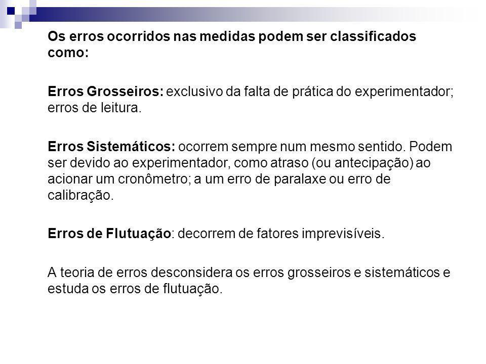 Os erros ocorridos nas medidas podem ser classificados como: Erros Grosseiros: exclusivo da falta de prática do experimentador; erros de leitura. Erro