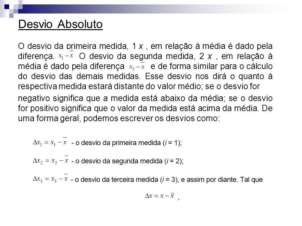 Desvio Absoluto O desvio da primeira medida, 1 x, em relação à média é dado pela diferença.. O desvio da segunda medida, 2 x, em relação à média é dad
