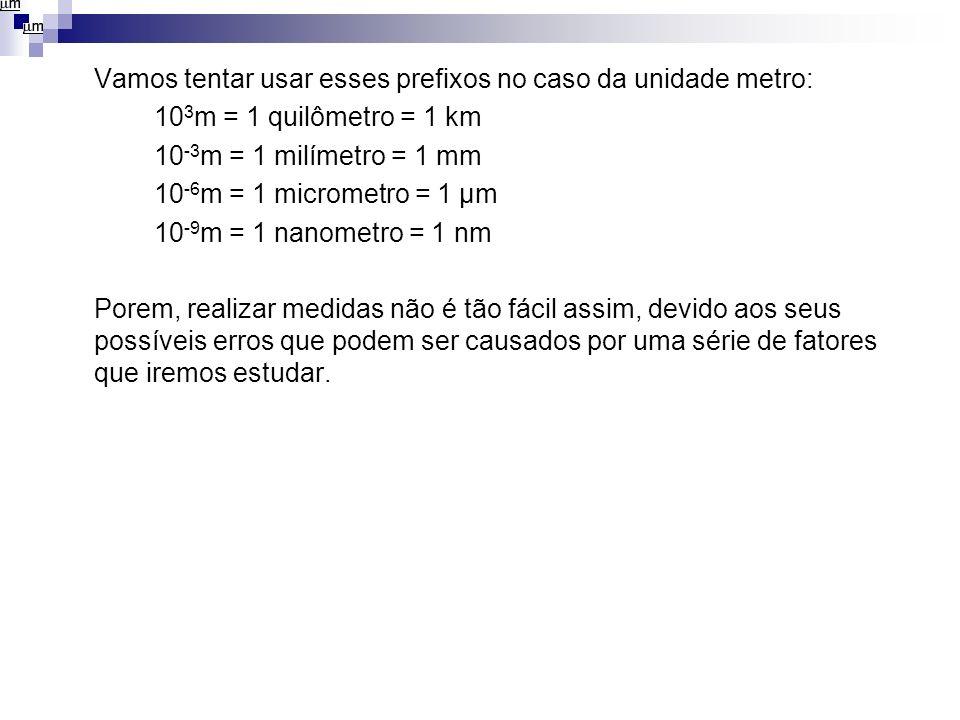 Vamos tentar usar esses prefixos no caso da unidade metro: 10 3 m = 1 quilômetro = 1 km 10 -3 m = 1 milímetro = 1 mm 10 -6 m = 1 micrometro = 1 µm 10