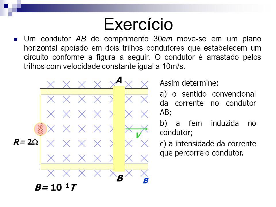 Exercício Um condutor AB de comprimento 30cm move-se em um plano horizontal apoiado em dois trilhos condutores que estabelecem um circuito conforme a
