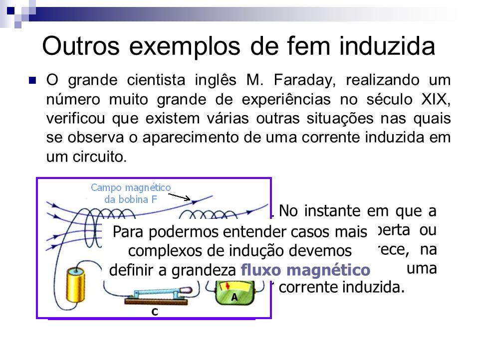 Outros exemplos de fem induzida O grande cientista inglês M. Faraday, realizando um número muito grande de experiências no século XIX, verificou que e