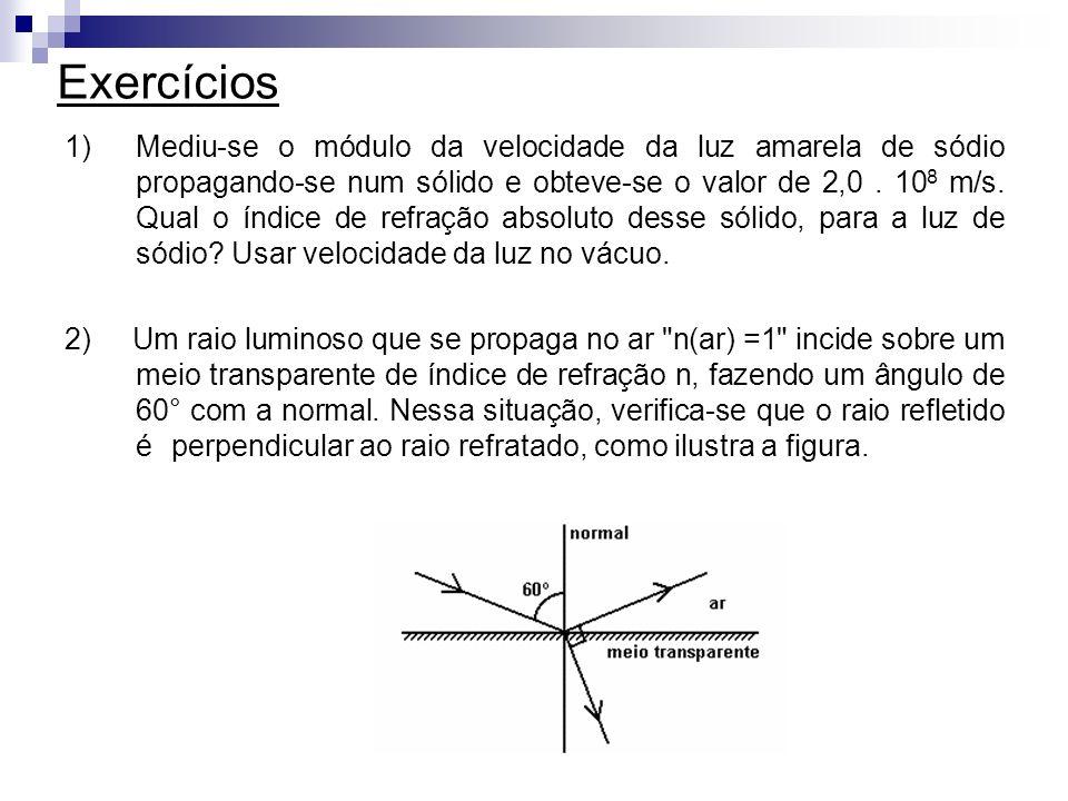 Exercícios 1)Mediu-se o módulo da velocidade da luz amarela de sódio propagando-se num sólido e obteve-se o valor de 2,0. 10 8 m/s. Qual o índice de r