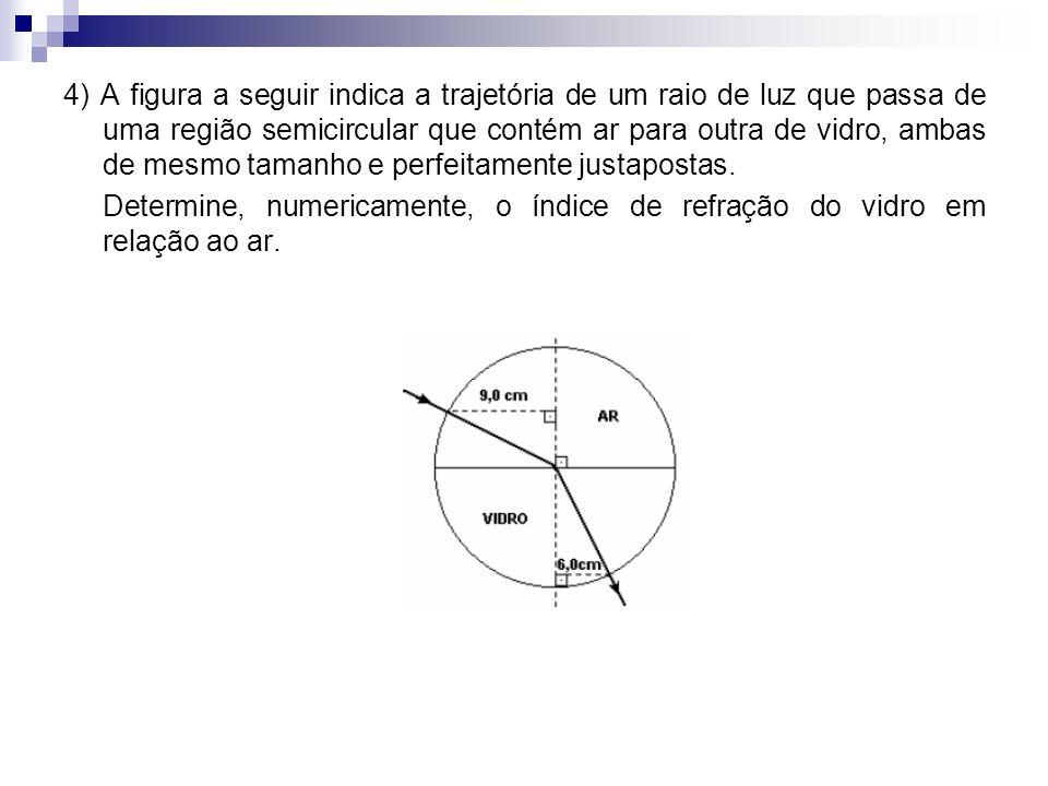4) A figura a seguir indica a trajetória de um raio de luz que passa de uma região semicircular que contém ar para outra de vidro, ambas de mesmo tama