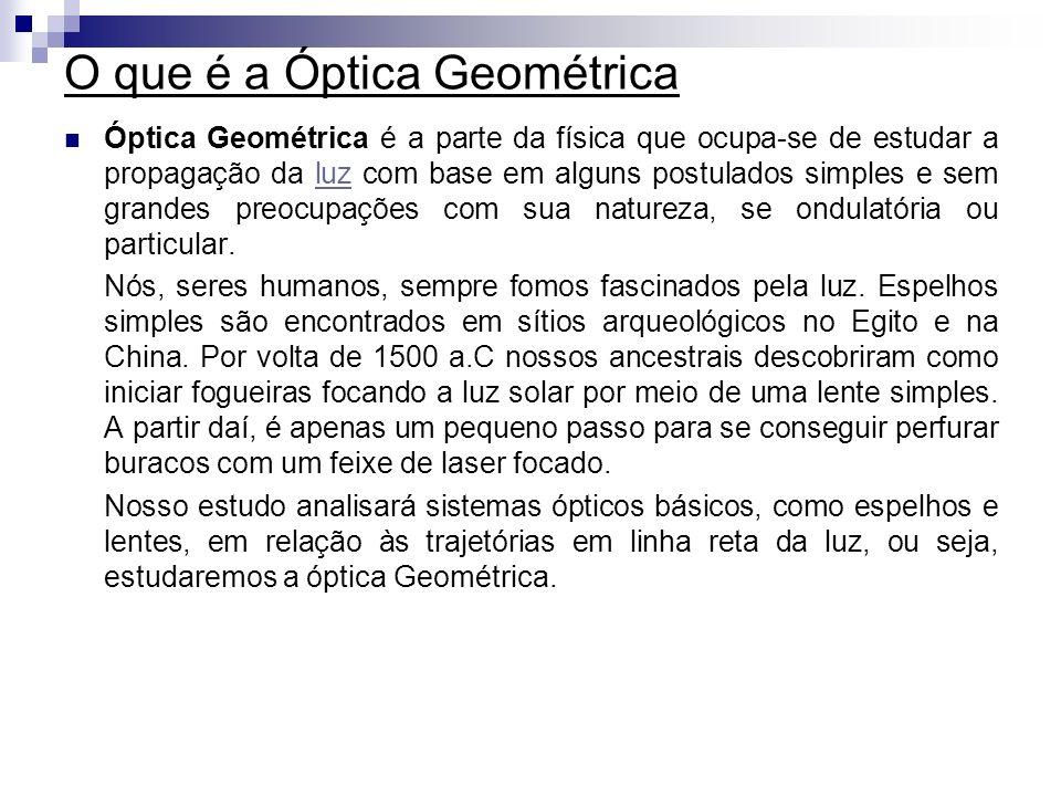 O que é a Óptica Geométrica Óptica Geométrica é a parte da física que ocupa-se de estudar a propagação da luz com base em alguns postulados simples e