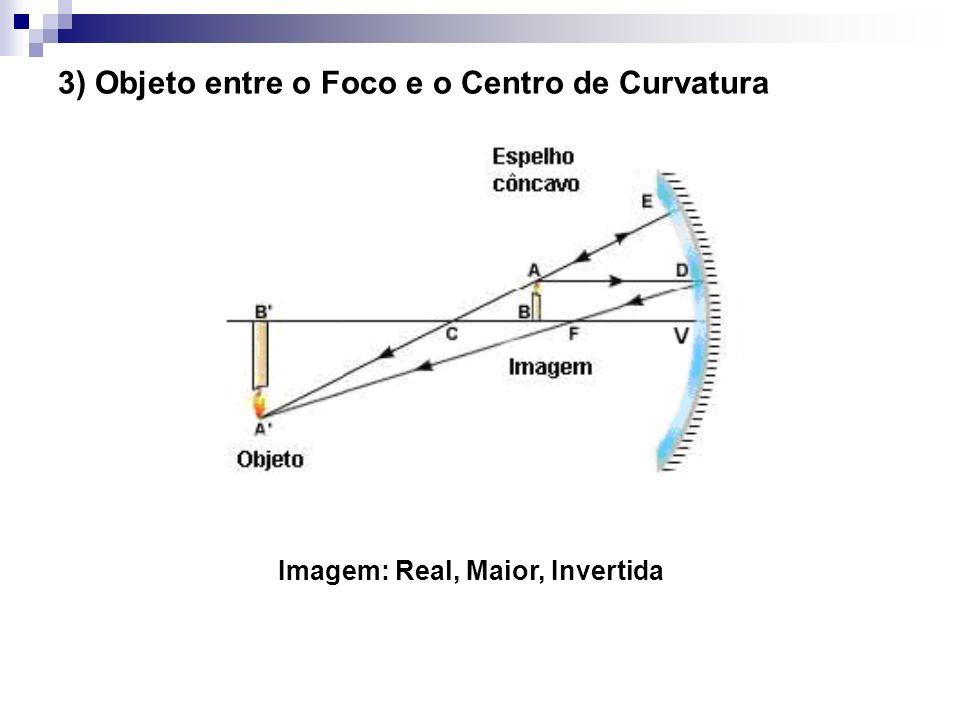 3) Objeto entre o Foco e o Centro de Curvatura Imagem: Real, Maior, Invertida