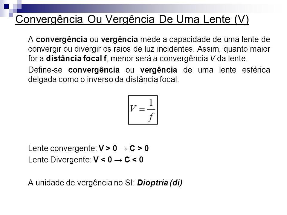 Convergência Ou Vergência De Uma Lente (V) A convergência ou vergência mede a capacidade de uma lente de convergir ou divergir os raios de luz incidentes.