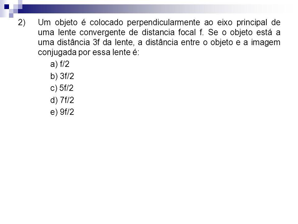 2)Um objeto é colocado perpendicularmente ao eixo principal de uma lente convergente de distancia focal f.