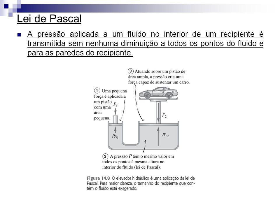 Lei de Pascal A pressão aplicada a um fluido no interior de um recipiente é transmitida sem nenhuma diminuição a todos os pontos do fluido e para as p