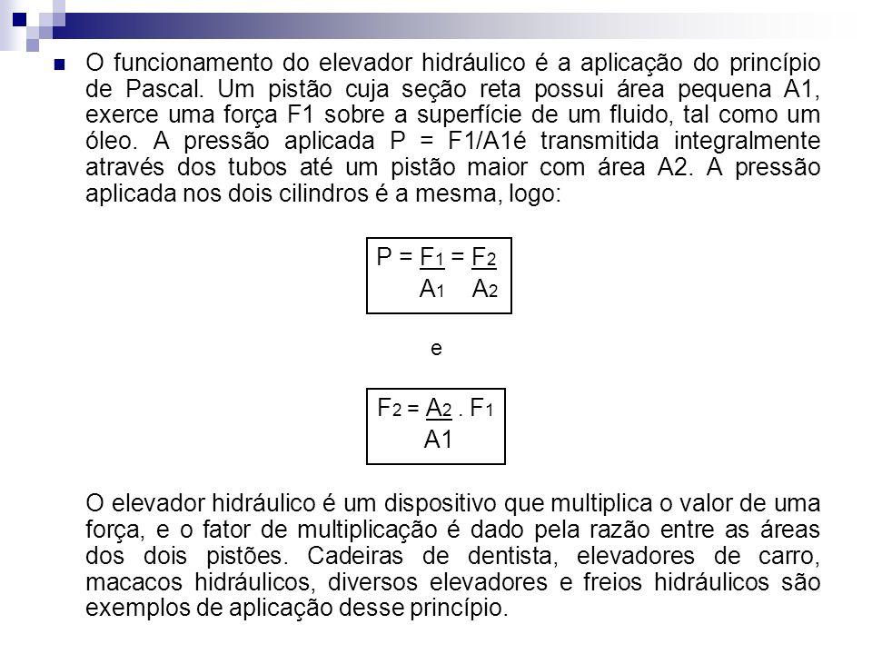 O funcionamento do elevador hidráulico é a aplicação do princípio de Pascal. Um pistão cuja seção reta possui área pequena A1, exerce uma força F1 sob