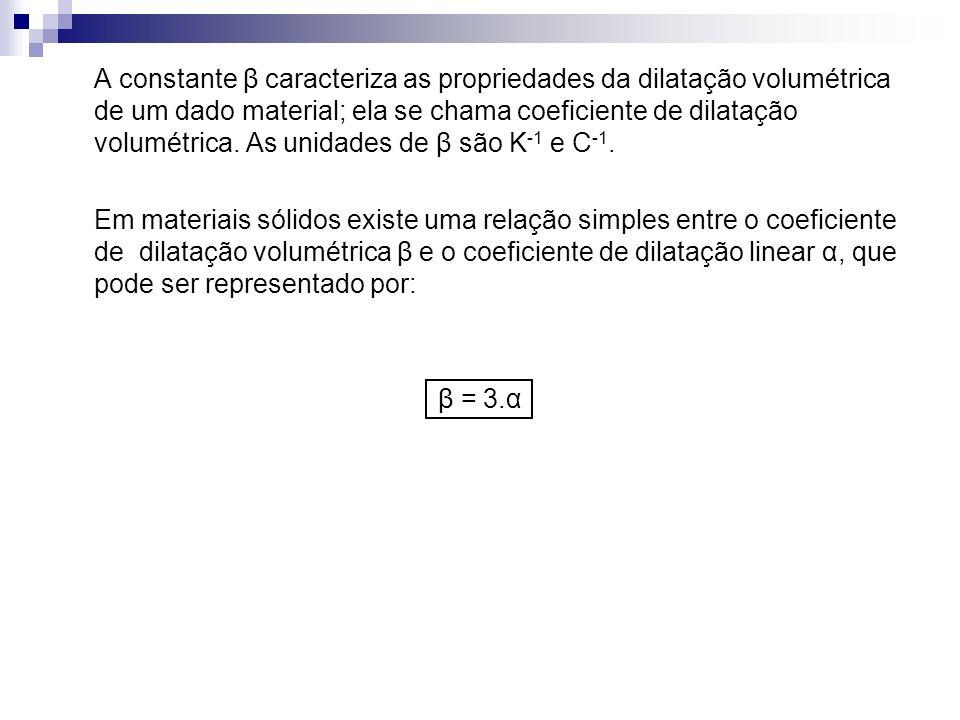 A constante β caracteriza as propriedades da dilatação volumétrica de um dado material; ela se chama coeficiente de dilatação volumétrica. As unidades