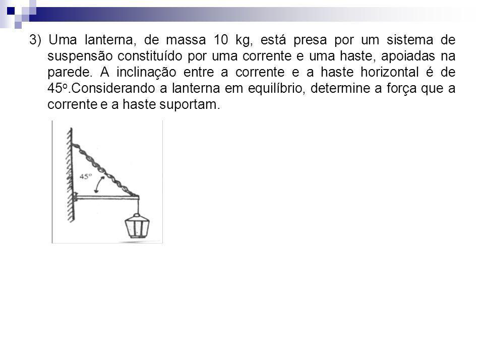 3) Uma lanterna, de massa 10 kg, está presa por um sistema de suspensão constituído por uma corrente e uma haste, apoiadas na parede. A inclinação ent