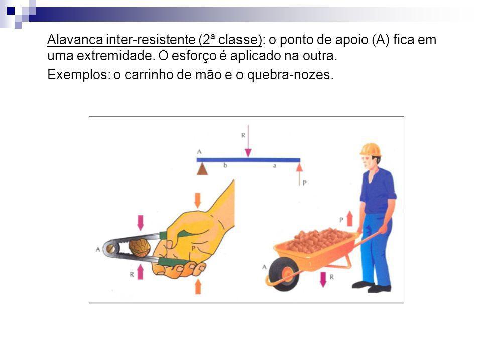 Alavanca inter-resistente (2ª classe): o ponto de apoio (A) fica em uma extremidade. O esforço é aplicado na outra. Exemplos: o carrinho de mão e o qu