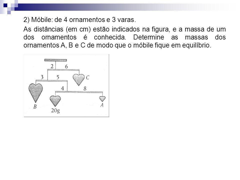 2) Móbile: de 4 ornamentos e 3 varas. As distâncias (em cm) estão indicados na figura, e a massa de um dos ornamentos é conhecida. Determine as massas