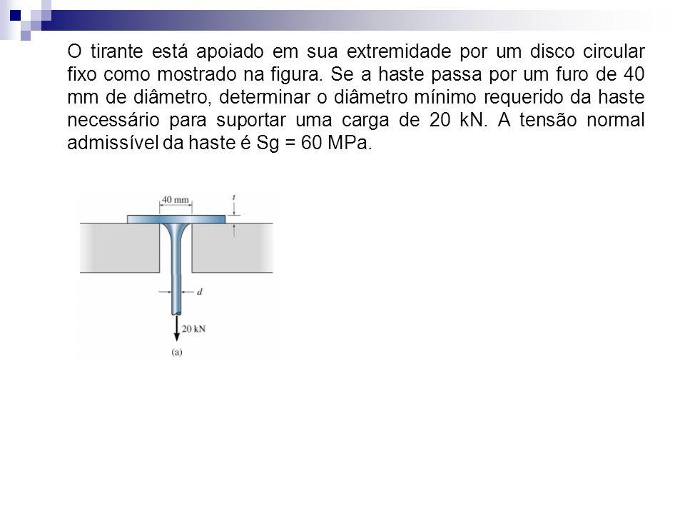 O tirante está apoiado em sua extremidade por um disco circular fixo como mostrado na figura. Se a haste passa por um furo de 40 mm de diâmetro, deter